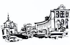 Marker drawing of Khreshchatyk the main street of the Ukrainian stock illustration