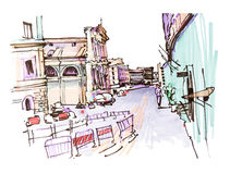 Marker drawing of Rome Italy street landscape Stock Images