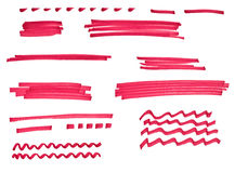 Marker drawn strokes and lines collection Royalty Free Stock Photography
