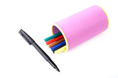 Marker and felt-tip pens in support Stock Photo