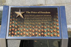 Marker at The Freedom Wall, honoring lost service personnel during WWII,Washington,DC,2015 Stock Images