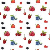 Marker Hand drawnseamless pattern berries on banner. Sketched marker food vector. colorful Raspberry, strawberry, cherry blueberry royalty free illustration