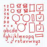 Marker Hand Written Doodle Symbols Vector. Letters, Numbers, Mathematical Symbols Royalty Free Stock Photo