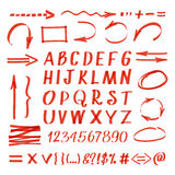 Marker hand written symbols. Vector pen line arrows and circles, letters numbers Stock Images