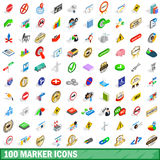 100 marker icons set, isometric 3d style. 100 marker icons set in isometric 3d style for any design vector illustration Stock Photos