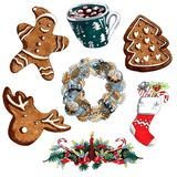 Marker illustration christmas set of wreath, gingerbread, gift sock isolated on white background for advertisement royalty free illustration