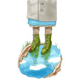 Marker illustration. Feet in the shoes standing in a puddle Stock Photography