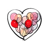 Marker illustration of red pink and yellow balloons in the heart shape isolated on white background royalty free illustration