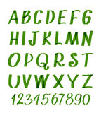 Marker letters and numbers. Vector hand written alphabet or calligraphic font Stock Photo