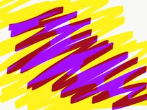 Marker lines of yellow and lilac color. Raster illustration for design and decoration stock images