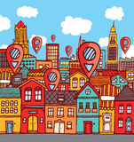 Marker locations over colorful city Stock Photo