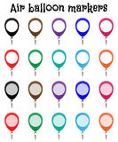 Marker mockup, air balloon marks. Marker mockups for maps, for web or for another application. Inside of the marker you can place numbers, letters, signs, labels Royalty Free Stock Photos