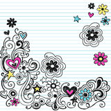 Marker Notebook Doodles Swirls and Flowers. Hand-drawn Marker Ink Notebook Doodles Border with Flowers and Swirls. Vector Illustration Design Elements on Lined Stock Photos