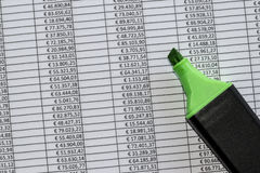 Marker over a excel spreadsheet with figures in euros. Closeup of marker over a excel spreadsheet with figures in euros royalty free stock image