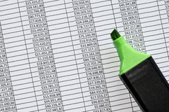 Marker over a excel spreadsheet with figures in US dollars Royalty Free Stock Images