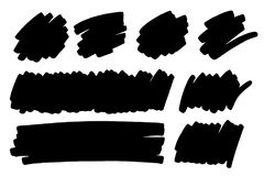 Marker, paint, ink brush stroke, text mark, frame. Vector black paint, ink brush stroke, brush, line or texture, text mark, frame. Dirty artistic design element Stock Image