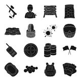 Marker for paintball, equipment, balls and other accessories for the game. Paintball single icon in black style vector Stock Photo
