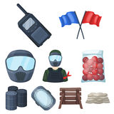 Marker for paintball, equipment, balls and other accessories for the game. Paintball single icon in cartoon style vector Stock Images