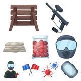 Marker for paintball, equipment, balls and other accessories for the game. Paintball single icon in cartoon style vector Stock Photography