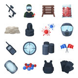 Marker for paintball, equipment, balls and other accessories for the game. Paintball single icon in cartoon style vector Royalty Free Stock Photos