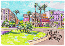 Marker painting of Rome Italy cityscape with hand lettering insc Royalty Free Stock Photos