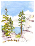 Marker painting sketch of mountain landscape view. Stock Photos