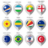 Marker from paper with flag for map - set eleventh Royalty Free Stock Photography