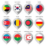 Marker from paper with flag for map Royalty Free Stock Image