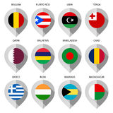 Marker from paper with flag for map - set ninth Royalty Free Stock Images