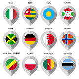 Marker from paper with flag for map - set seventh Royalty Free Stock Images