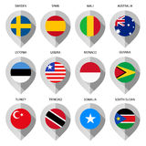 Marker from paper with flag for map - set third Royalty Free Stock Photography