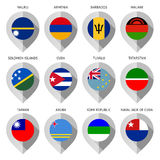 Marker from paper with flag for map - set thirteenth. Vector illustration Royalty Free Stock Image