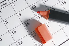 Marker Pen on Calendar Royalty Free Stock Photography