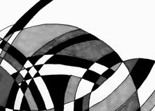 Marker pen drawing of curves. A close up of a marker pen sketch of black and white filled curves Royalty Free Stock Images