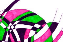 Marker pen drawing of curves. Royalty Free Stock Image