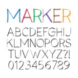 Marker Pen Font and Numbers Stock Photography