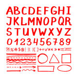 Marker pen red hand written elements. Marker pen red hand written vector elements on white background. Number, letters and arrows icons collection royalty free illustration