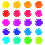 Marker pen spots. Multicolor marker pen circle spots isolated on a white background for your design. Vector illustration Stock Image