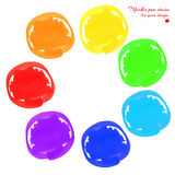 Marker pen spots. Round marker stains hand-drawn set of rainbow colors isolated on a white background for your design. Vector illustration Stock Image