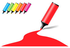 Marker pens with a colored area Stock Photography
