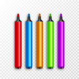 Marker pens, red, green, yellow, purple, blue. Vector set colourful highlighters. Drawing pencil tool. Marker art highlighter Royalty Free Stock Photography