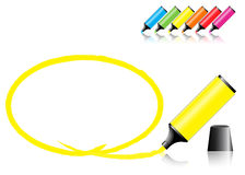 Marker Pens With A Selected Area Royalty Free Stock Photo