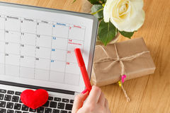 Marker point date on a calendar. Royalty Free Stock Photography