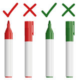 Marker red / green with cross   check Stock Images