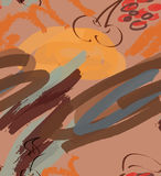 Marker rough strokes and cherry on coffee brown Stock Images