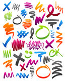 Marker scribbles. Collection of marker strokes, circles, and other doodles royalty free illustration