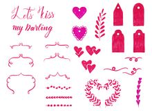 Marker set of Valentine day elements for design. Ornamental frame, lettering, hearts, roses, labels. Marker set of Valentine day elements for design. Ornamental Royalty Free Stock Photography