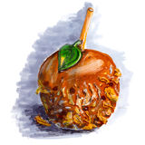 Marker sketch of coated caramel apple. Halloween dessert on wooden stick with walnut, chocolate, coconut, taffy. Tasty food. Gray shadow.  on white background Stock Photography