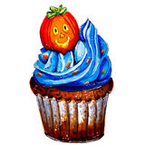 Marker sketch of Halloween pumpkin cupcake. Isolated. Stock Image