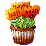 Marker sketch of Happy Halloween cupcake. Isolated. Stock Photos